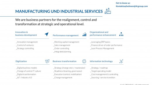 Consulting for manufacturing companies